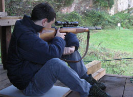 Shooter on the outdoor air range at Portishead Shooting Club